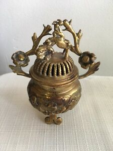 Antique Asian Chinese Oriental Brass Incense Burner Floral Buddha Foo Dog