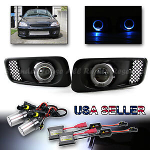 For 99 00 Civic Si Sedan Hb Type R Coupe 3 Fog Lights Blue Led Halo 6000k Hid