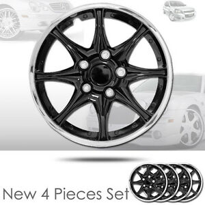 For Vw New 15 Abs Plastic 8 Spikes Black Hubcaps Wheel Cover Hub Cap 522