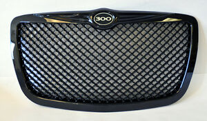 Chrysler 300 300c 2005 2010 Gloss Black Honeycomb Front Grill W 300 Logo