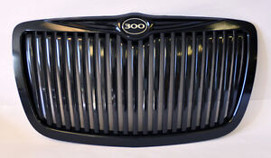 Gloss Black Vertical Front Grill W 300 Badge Fits Chrysler 300 300c 2005 2010