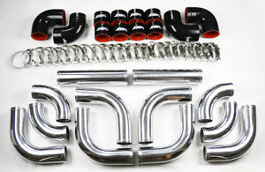 Universal High Quality 2 5 Polished Intercooler 12pc Piping Kit Aluminum