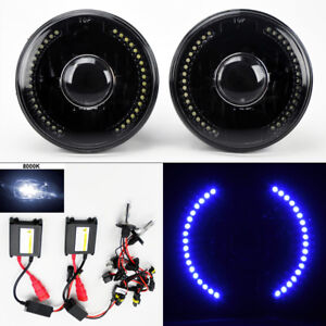 7 Round 8k Hid Xenon H4 Black Projector Led Drl Glass Headlight Conversion