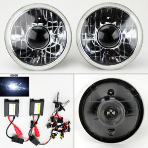 7 Round 8k Hid Xenon H4 Clear Projector Glass Headlight Conversion Pair Gmc