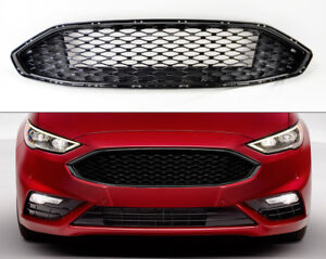 Gloss Black Front Bumper Honeycomb Mesh Grill For Ford Fusion 2017