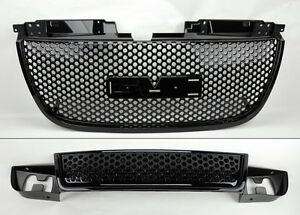 Gmc Yukon 07 13 Round Hole Gloss Black Front Upper Lower Hood Bumper Grill