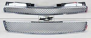 Chevy Tahoe Suburban Avalanche 07 14 Front Mesh Chrome Hood Bumper Grill