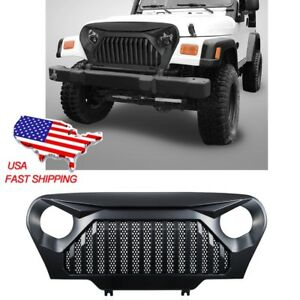 For Jeep Wrangler Tj Front Gloss Black Gladiator Grill Mesh Grille 1999 2006