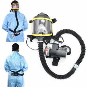 Electric Gas Mask Respirator Supplied Fresh Air Full Face System Safety Us Plug