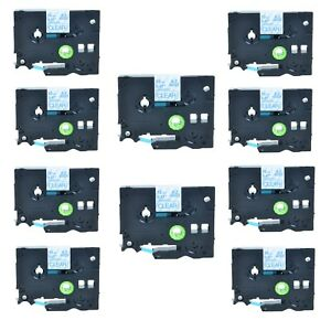 10pk Tze133 Tz133 Blue On Clear Label Tape For Brother P touch Pt 350 1 2 12mm
