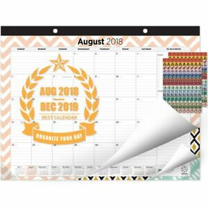 Oriday 2018 2019 Monthly Yearly Desk wall Pad Calendar 2 Sets Of Stickers