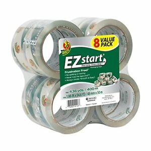 Duck Brand Ez Start Packaging Tape 1 88 Inches X 54 6 Yards Clear 8 Pack 282