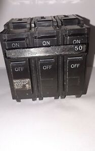 General Electric Thql32050 3 Pole 50 Amp 240v Type Thql Circuit Breaker New