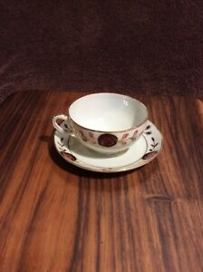 Vintage Porcelain Japanese Tea Cup Saucer With Hand Painted Poppy Design