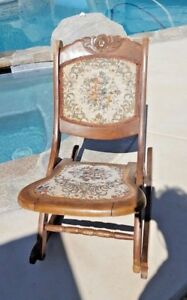 Beautiful Wood Folding Rocker Rocking Chair Tapestry Victorian Vintage Antique
