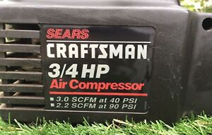 Portable Craftsmen 3 4 Horsepower Electric Air Compressor Corded 40 90psi