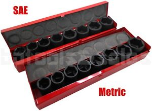 18pc 3 4 Drive Metric Sae Air Impact Cr V Steel Socket Set W Metal Case