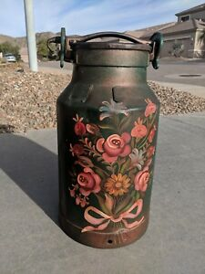 Vintage Antique Hand Painted German Milk Can