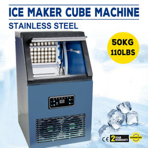 110lbs 50kg Auto Commercial Ice Cube Maker Machine Stainless Steel Bar Coffee Us