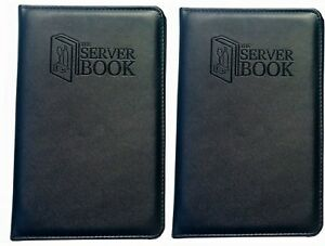 2 Server Books With Zipper Pocket Black Waitress waiter Book With Money New