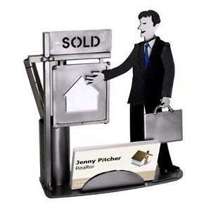 Male Real Estate Agent Business Card And Pen Holder New