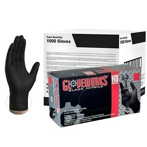 Gloveworks Black Nitrile Industrial Latex Free Disposable Gloves case Of 1000
