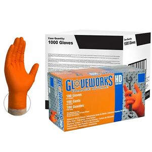 Gloveworks Orange Nitrile Industrial Latex Free Disposable Gloves case Of 1000