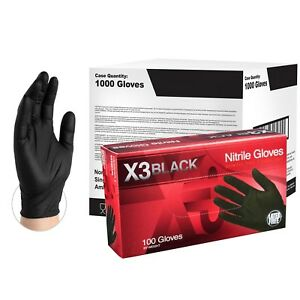 Ammex Bx3 Black Nitrile Industrial Latex Free Disposable Gloves case Of 1000
