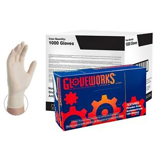 Gloveworks Ivory Latex Industrial Powder Free Disposable Gloves case Of 1000