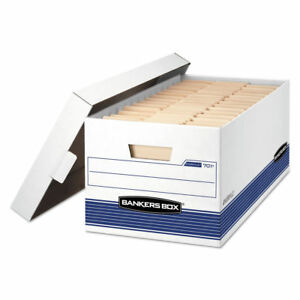Fellowes Stor file Storage Box Letter Locking Lid White blue 4 ctn 70104 New
