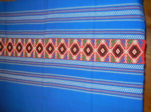 Vintage Wool Embroidered Coverlet Bed Spread Red White Blue Free Shipping