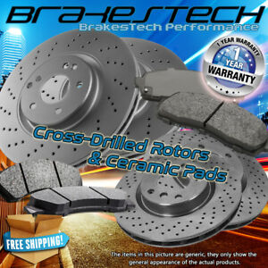 Front rear Drilled Rotors Ceramic Pads For 1994 2001 Ford Mustang svt Cobra