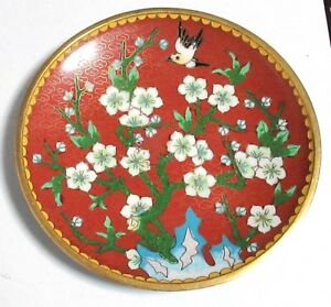 Chinese Cloisonne Red Enamel Birds Floral Plate