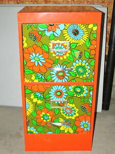Vintage Hippie Flowers Metal File Cabinet Retro Peter Max Style Rare