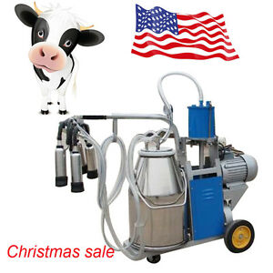 Milker Electric Piston Vacuum Pump Milking Machine For Cow Farm Bucket 550w 25l