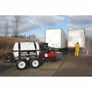 Northstar Hot Water Pressure Washer Trailer W 2 Wands 4 000 Psi 7 0 Gpm