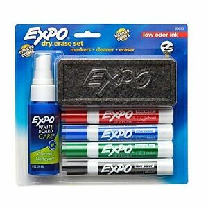 Expo 80653 Lowodor Dry Erase Set Chisel Tip Assorted Colors 6piece