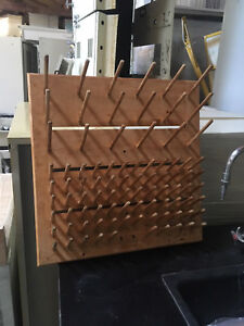 Light Weight Wood Laboratory Beaker Drying Rack Pegboard 20 x20 By Fisher