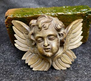 Nice Antique Wood Carving Of A Winged Angel Amor Head 19th Century