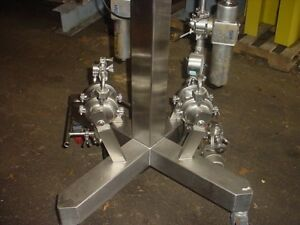 1 2 Inch Sanitary 316 Stainless Steel Diaphragm Pumps Qty 2 On Stand