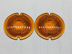 Vintage Pair Signal Stat Amber Glass Turn Lamp Light Lens Early Signal 3 3 4 3