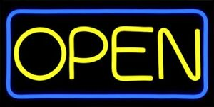 Led Open Sign Bd24 6 Buydirectsign Large 24x12 Yellow Blue Pvc Remote