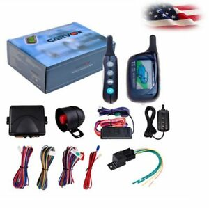 New 2 Way Car Alarm Security System Lcd Super Long Distance Control Anti Theft