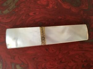 Antique Palais Royal Mother Of Pearl Needle Case With Gold Band For Sewing Box