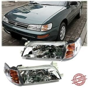 For 93 97 Toyota Corolla Chrome Headlights Focos And Corner Lamps Set Jdm Glass