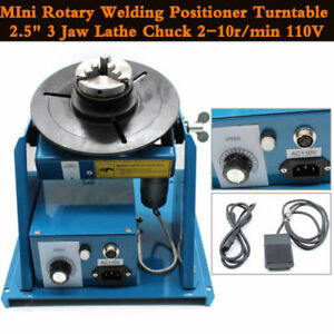 Us Ship Rotary Welding Positioner Turntable Table Mini 2 5 3 Jaw Lathe Chuck