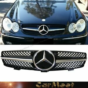 For Benz 04 09 W209 Clk Coupe 2dr Front Frame Grille D Chrome Glossy Black Color
