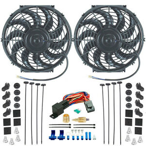 Dual 12 Inch Electric Radiator Puller Power Fan 1 2 Inch Thermostat Ground Kit