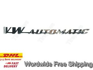 Decklid Script Emblem Vw Automatic Stainless Steel Fits Vw Bug Bus