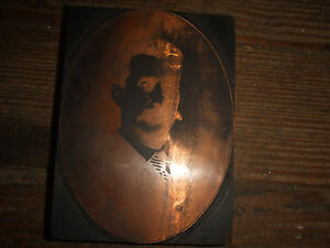 Letterpress Metal On Wood Type Printer s Block Lot Copper Gentleman Portrait